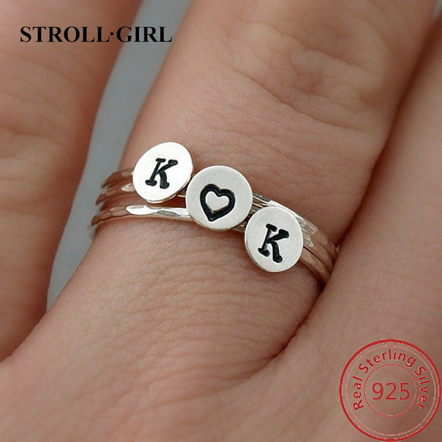 Cheap Tiny Sterling Silver Ring Custom Initial Ring Personalized Stackable Stacking Rings