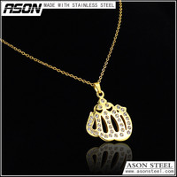 Fashion gold plated necklace Crown design pendant high class jewelry accessories