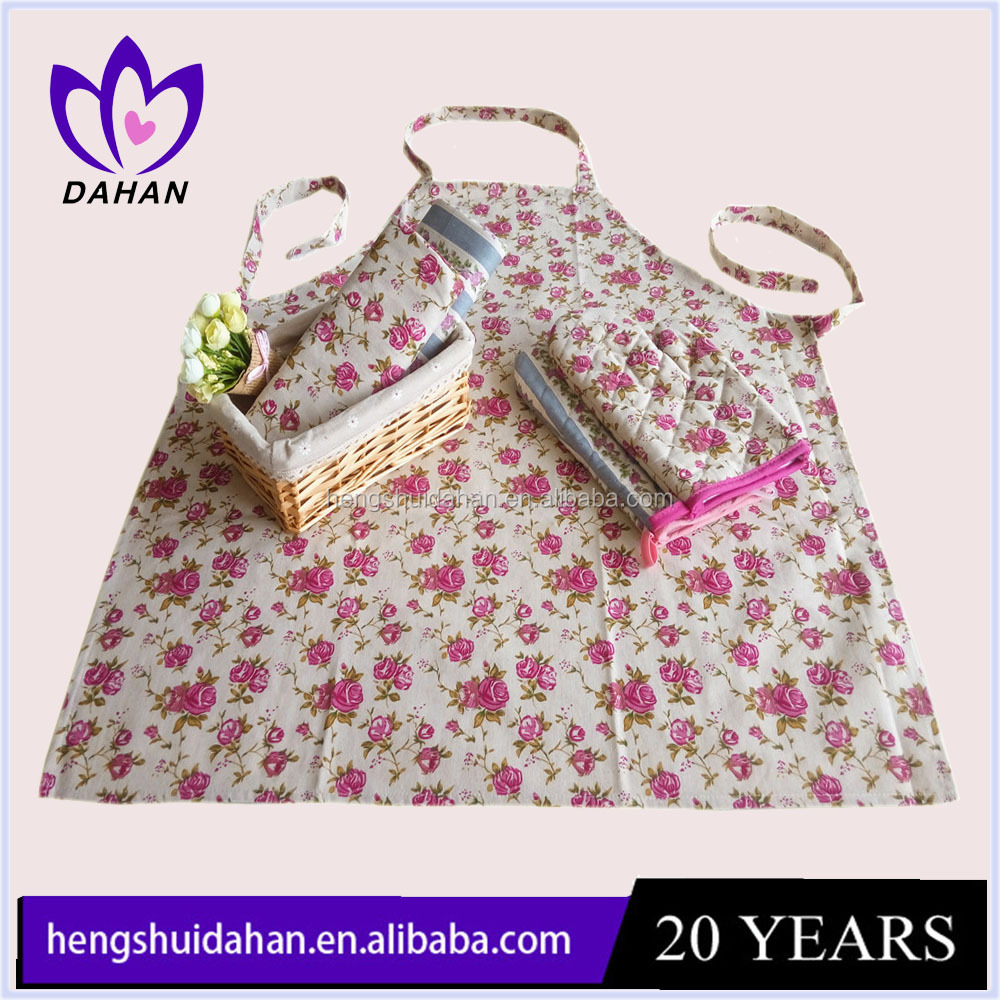 Cheap cotton customized design kitchen apron and oven glove set for cooking