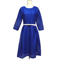 Latest casual dress designs stripe hollow out dress summer pleated casual dresses A774