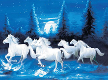 3D Lenticular Picture Poster Artwork Unique Wall Decor Seven Horse in the Moonnight