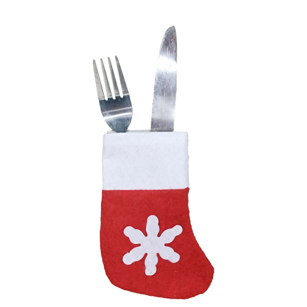 Large Stock Knife Fork Christmas Ornament Stocking Sock For Tableware Tray