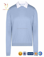 Latest Design Ladies Wool 100% Cashmere Round Neck Sweater