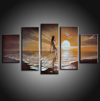 high quality nude girl in the sunshine 5pcs set art painting for drawing room