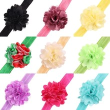 17 colors New baby infant flower headband small rose flower with hairband flower headband elastic hair band headwear hairband