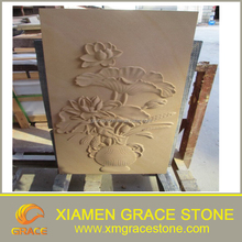 Chinese Yellow Sandstone Carving Flower or customize