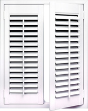 89 MM louver T post Z frame tilt bar wood plantation shutter