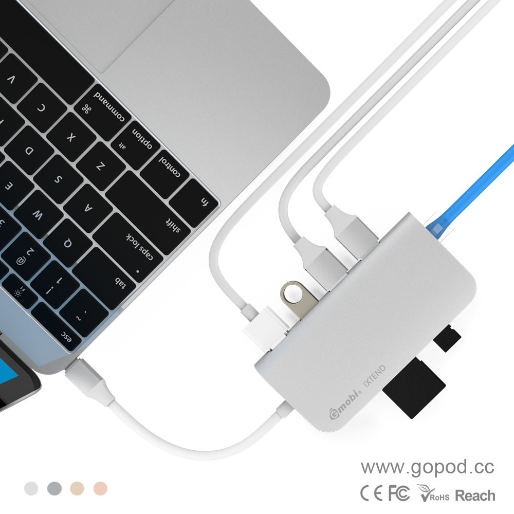 Gopod USB-C Hub with HDMI VGA, Ethernet, 2 USB 3.0 Ports, Type-C Power Delivery Throughput Port for 2016 MacBook Pro, Chromeboo