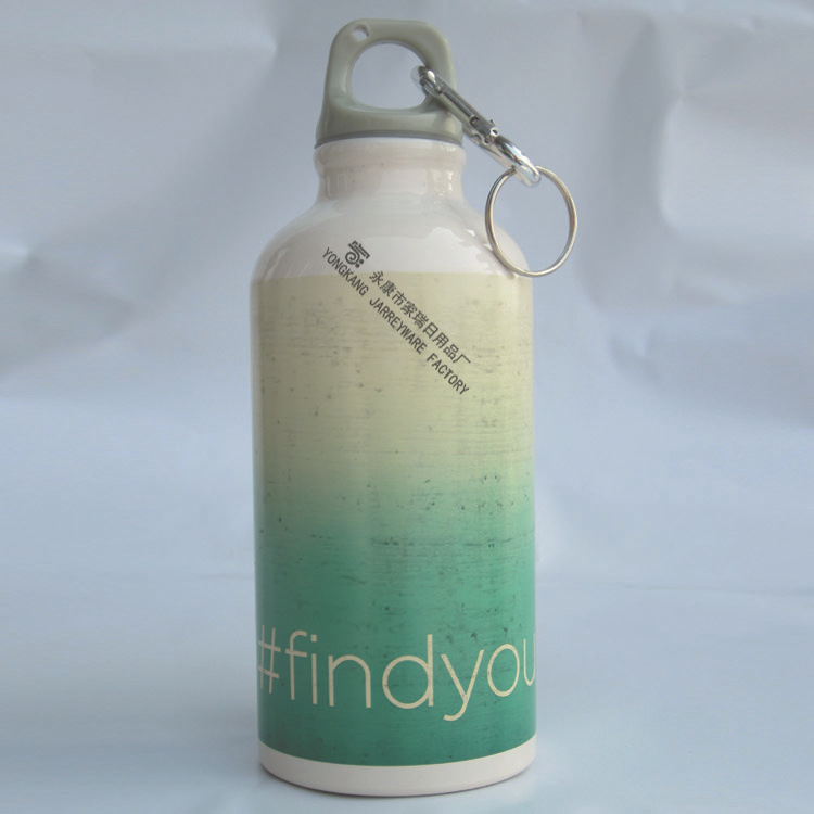Heat Transfer Printed 600ml Aluminum Sports Bottle With Hook
