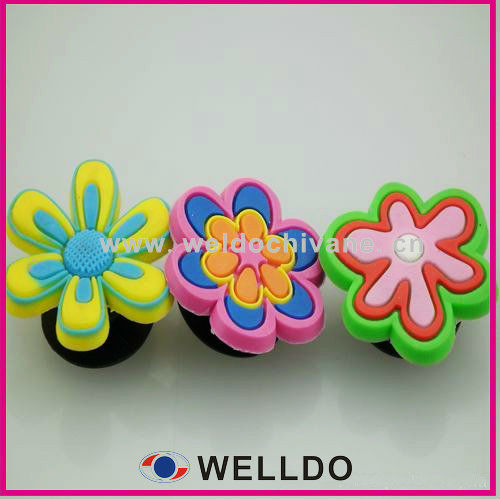 Flower deisgn pvc accessories for shoes,charms for shoes