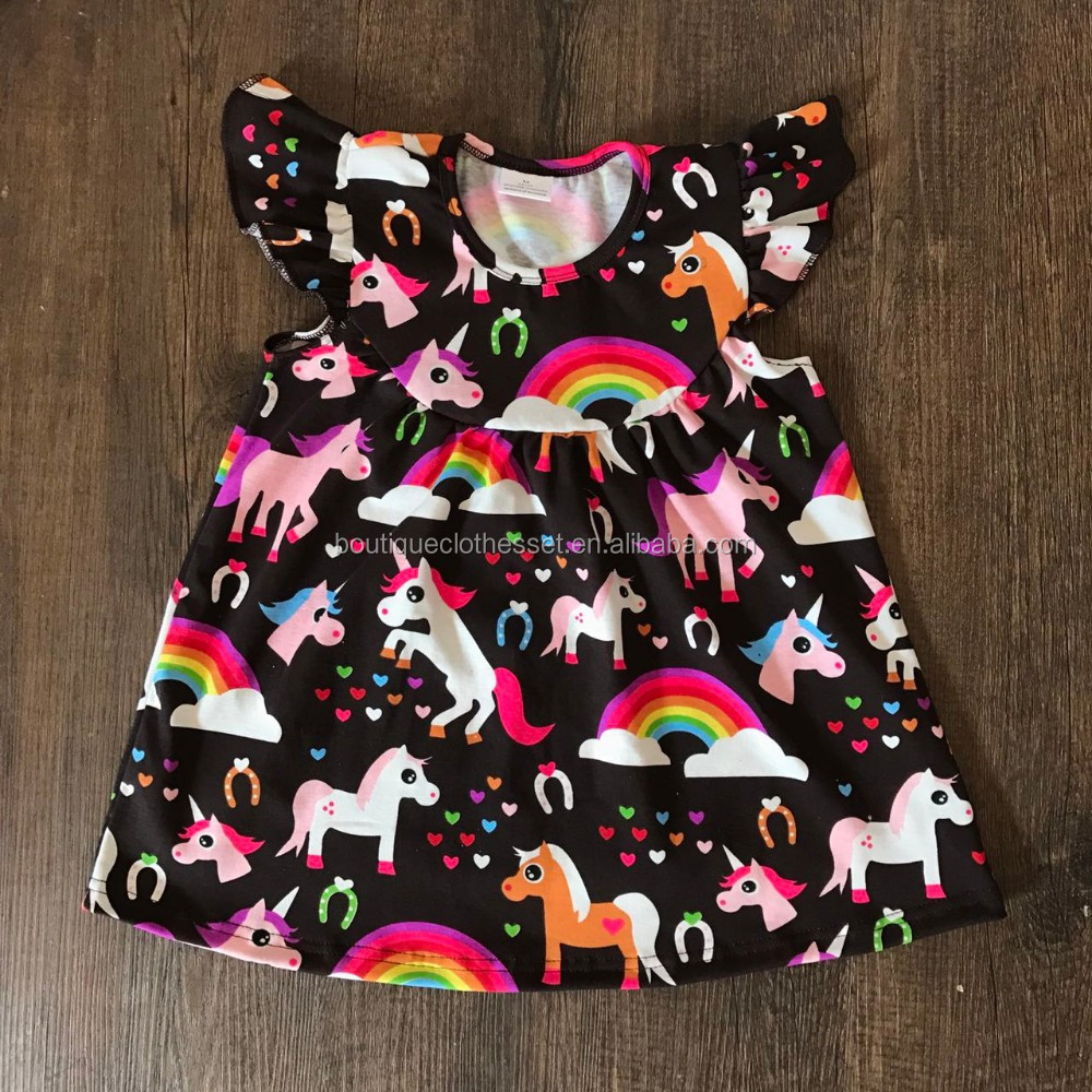 Newest toddler summer dress boutique children's knit cotton unicorn flutter sleeve dress rainbow unicorn dress