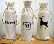Wholesale flat linen wine or liquor bottle bag with drawstring
