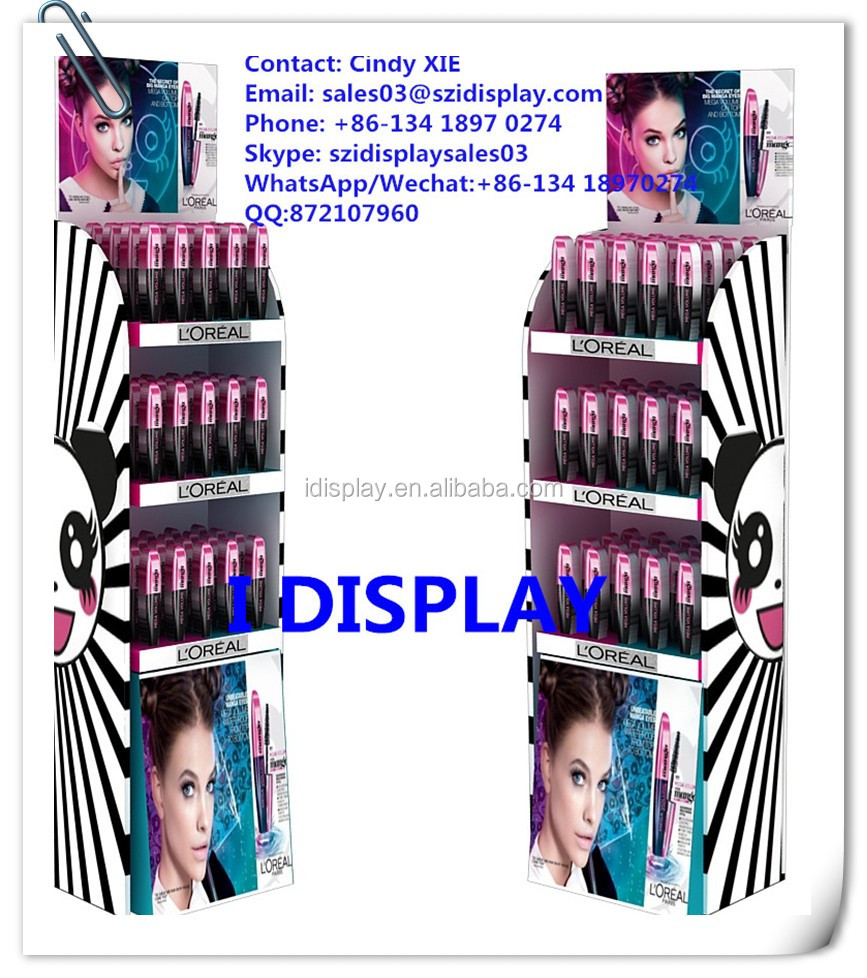 free standing cosmetic stands display for lipsticks cardboard cosmetic display