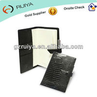 A5 size notebook Coverjacket Memo Pads in Leather Crocodile Black Notebook Cover with pen loop and card / receipt pockets-JC-007