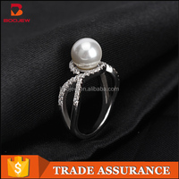 Latest 925 italian silver jewelry design white gold single pearl stone ring for women
