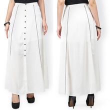 Lady Front Button Plain Off-White Long Maxi A-line Skirt