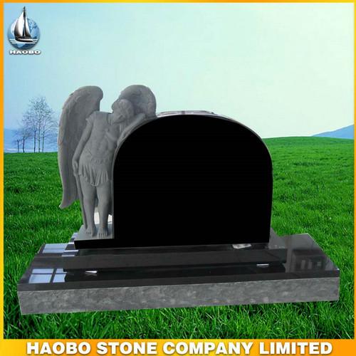 Black Granite Jesus Monument Tombstone Headstone View