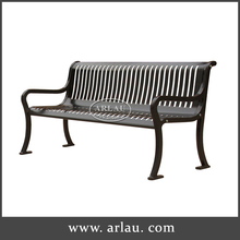 Outdoor backrest patio bench perforated metal garden bench
