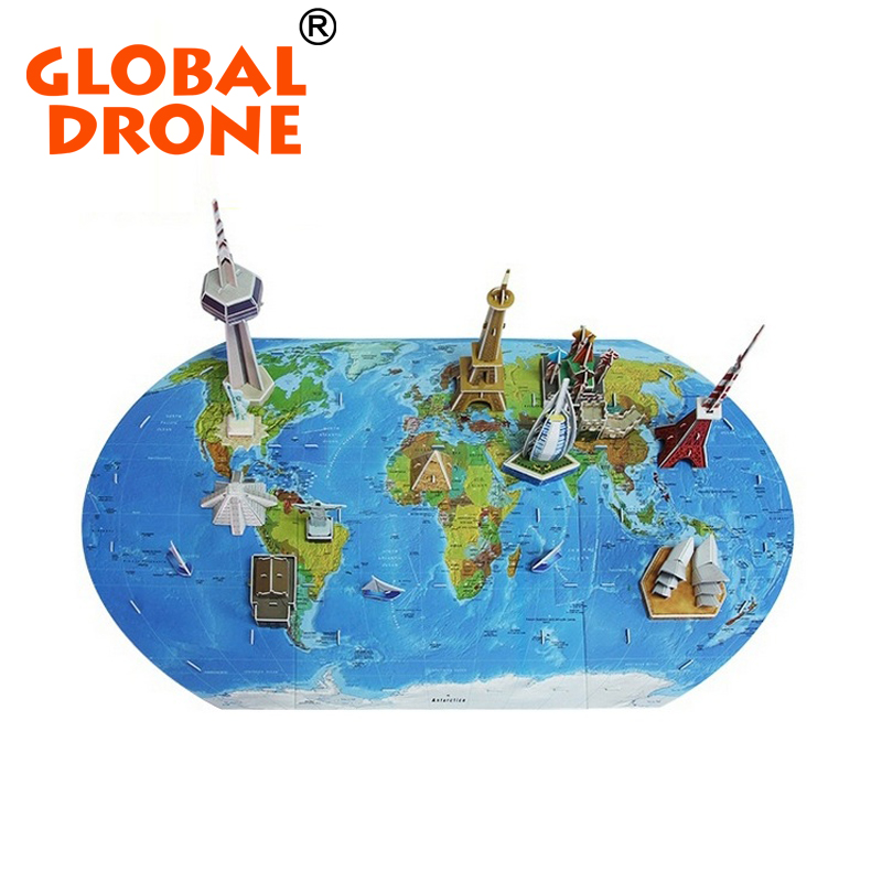 GLOBAL DRONE Childrens Educational Cardboard world map 3d jigsaw paper custom puzzle