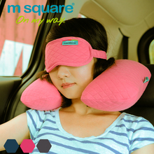 logo printed Adults Age Group travel kit eye mask u shape inflatable neck pillow for airline