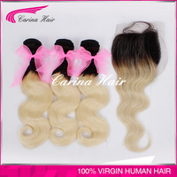 Carina hair factory 22 24 26 and 16inch closure Dark Roots two tone1b/613 Body Wave Russian Virgin Hair free weave hair packs
