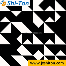Shiny black and white checkered micro crystal porcelain floor tile