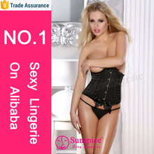 Hottest selling Satin& lace front busking back lacing up Corset & thong lace for lingerie