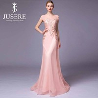 Elegant Scoop Neck Lace Appliqued Beaded Illusion Back A-line Cap Sleeve Long Evening Dress Peach Color Chiffon Evening Dress
