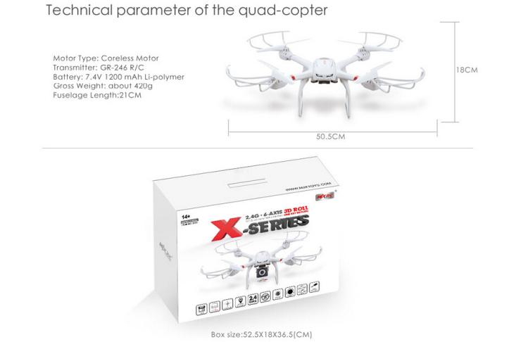 Wholesales Price mjx x101 rc quadcopter 6-Axis Gyro Headless Mode One Key Return fpv drone manufacturers