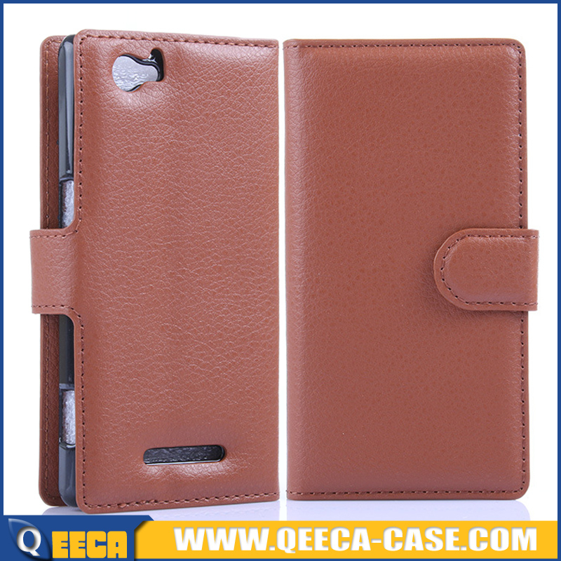 Lychee pu leather mobile phone flip case for sony xperia m