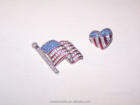 Rhinestone American Flag Patriotic Lapel pin Brooch & Heart