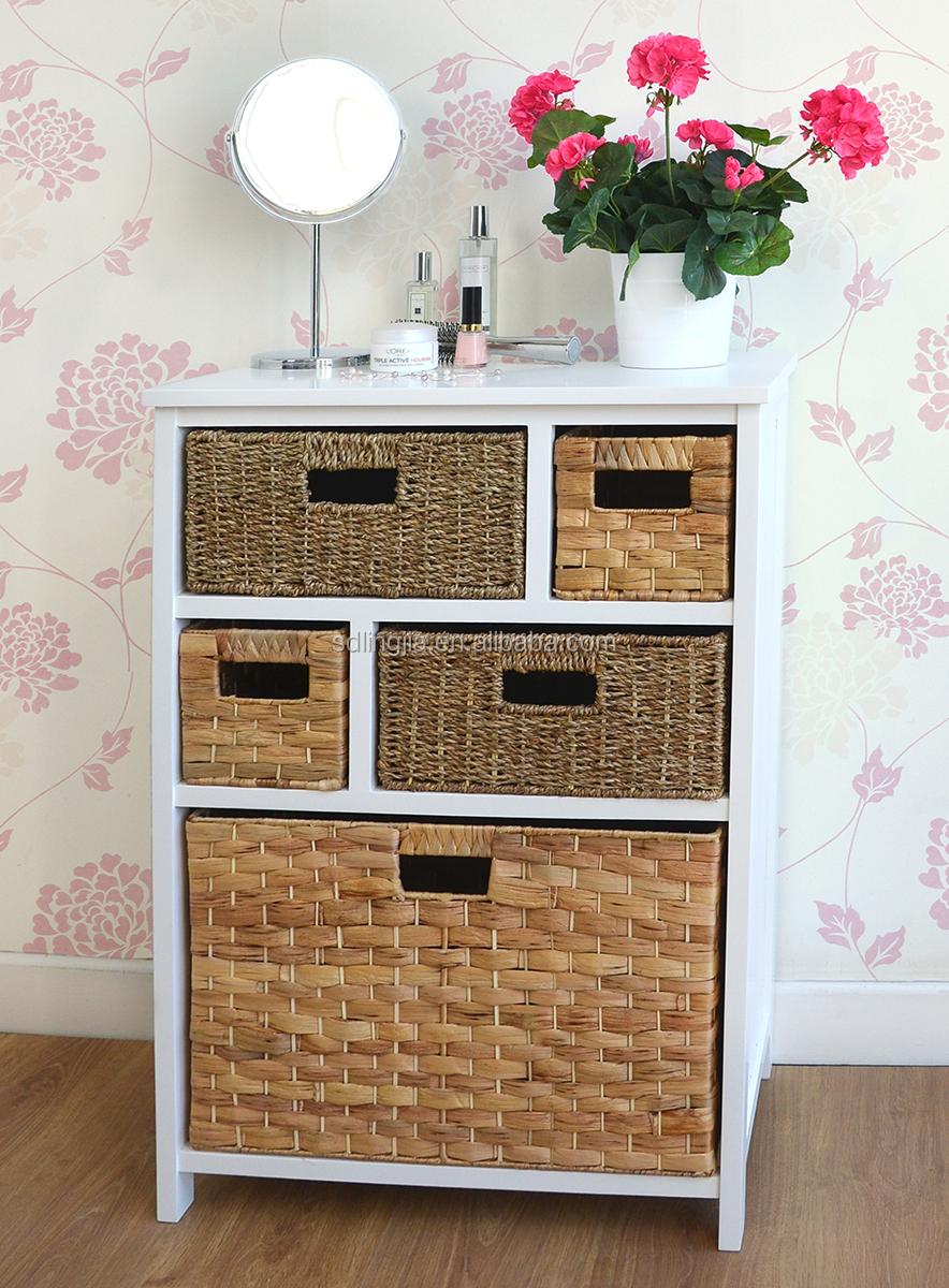 Wicker Basket Cabinet White Wood Wicker Storage Basket Drawer Cabinet Furniture Hobby