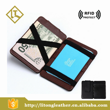 Popular RFID blocking Credit Card Holder real leather human made bifold wallet Magic Wallet