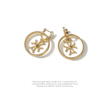 Punk Style Inside Cross Hoop Earrings for Women Gold Color Round Circle Earrings Clip On Earrings Gifts Wholesale 2017