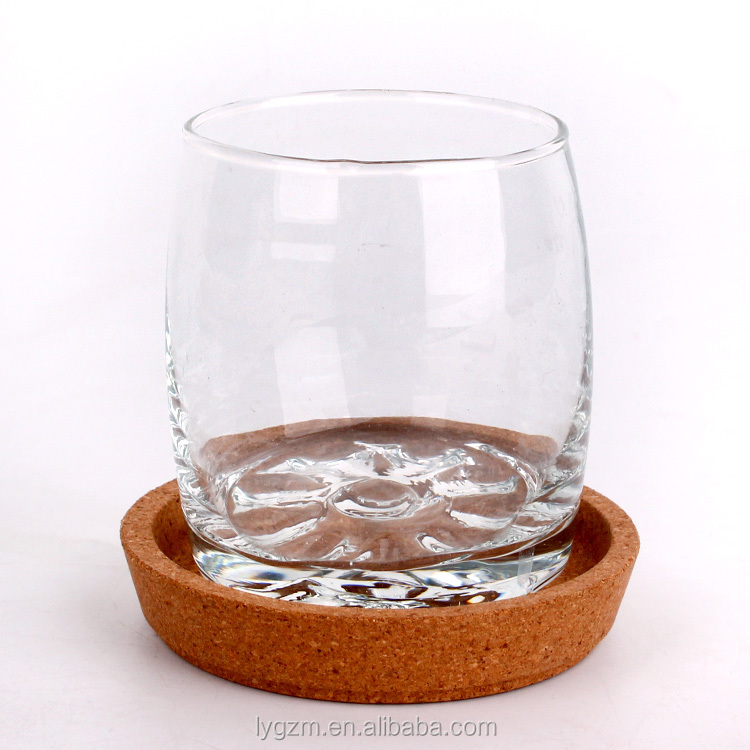 Hot Sale  round shape  200ml crystal  drinking glass cup with Small wooden splints