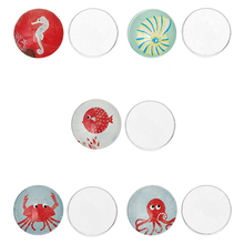 Glass Dome Cabochon Round Flatback Mixed Octopus Spiral Shell Crab Seahorse Fish Pattern 20mm Dia