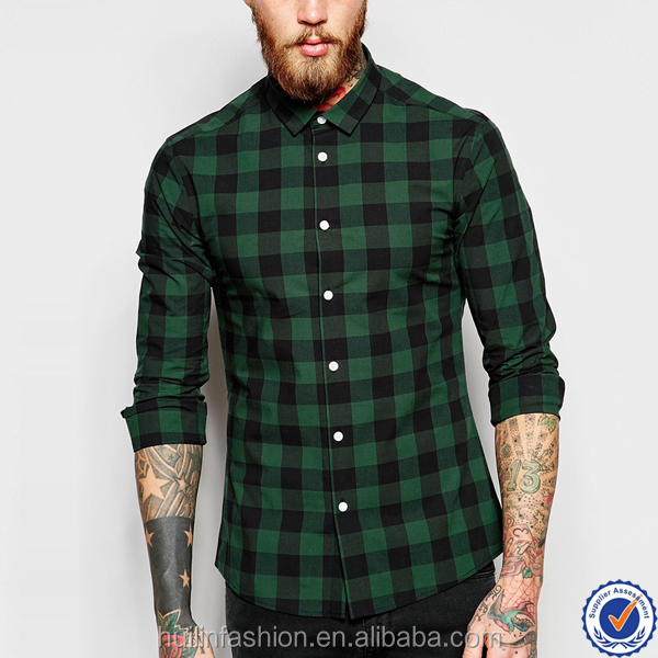 point collar latest shirts for men pictures button placket skinny flannel plaid shirt