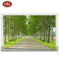 Spring Scenery Avenue With LED Non Frame Paintings for Wall Decoration