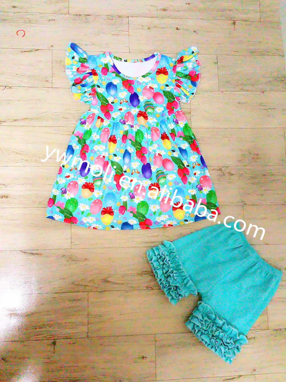 korean baby girl fashion kids clothing short sleeve dress match pants easter boutique garments set for children