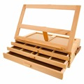 Wholesales handmade unfinished beech adjustable wooden storage boxes easel