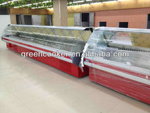 fresh meat display curved glass meat showcase Deli case/supermarket refrigerator showcase/curved glass serve over cooler