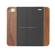 PU leather flip wooden cell phone cases for iphone, wallet design case
