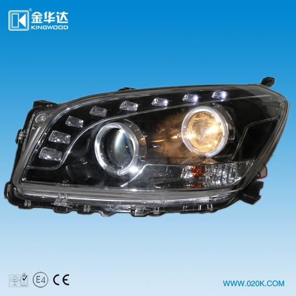 Cheap replacement black color headlights for toyota RAV4 2010-2012 with angel eyes