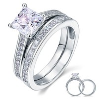 Wedding Engagement Ring Set Created Diamond 925 Sterling Silver Jewelry CFR8009S