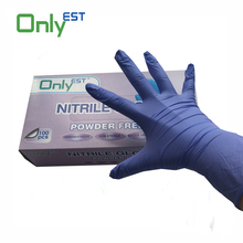 China supplier AQL 1.5 Textured powder free purple blue nitrile gloves
