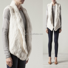 YR078 Hot Sale Super Quality Women Genuine Cropped Knitted Rabbit Fur Vest