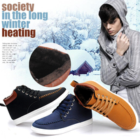 Male Winter Boots Plus Velvet Warm Men's Casual Shoes European and American Fashion Sneakers
