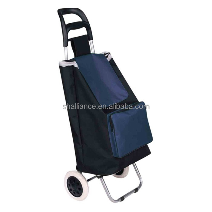 Wholesale folding polyester shopping trolley with wheel grocery folding cart shopping trolley bag