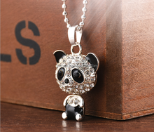 Latest design shiny diamond big head panda necklace