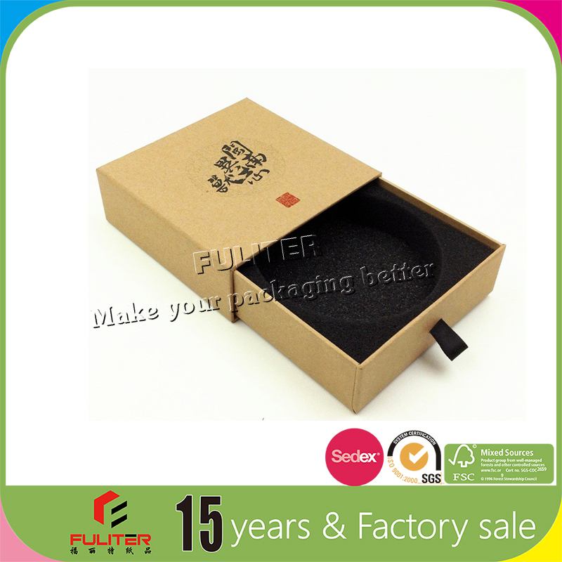 High grade drawer brown jewelry box packaging kraft paper